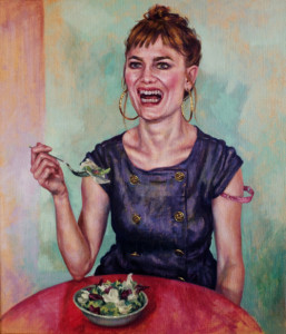 Woman Laughing Alone With Salad